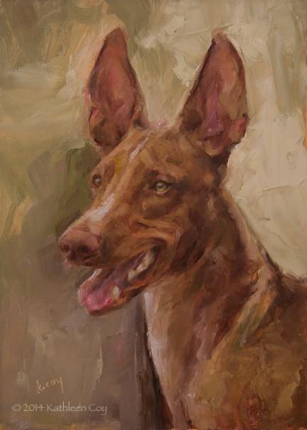 """Day 23 - Pharaoh Hound"" original fine art by Kathleen Coy"
