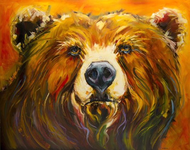 """ARTOUTWEST DIANE WHITEHEAD BEAR WILDLIFE ANIMAL ART OIL PAINTING"" original fine art by Diane Whitehead"