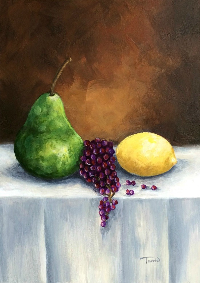 """Another Pear with Grapes and Lemon"" original fine art by Torrie Smiley"