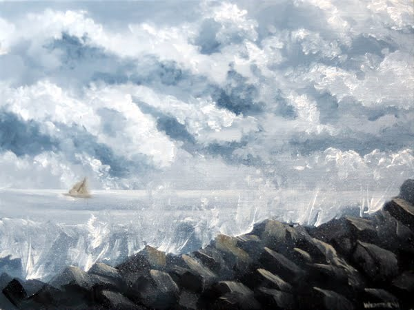"""Mark Webster - Stormy Weather - Ocean Landscape Grayscale Oil Painting"" original fine art by Mark Webster"