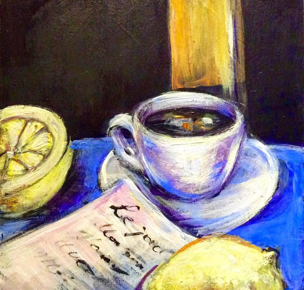 """Coffee cup with lemon still life"" original fine art by Sonia von Walter"