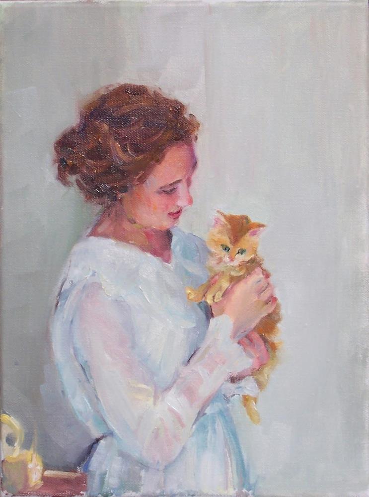 """Soft Comfort,figure,oil on canvas,12x9,priceNFS,"" original fine art by Joy Olney"