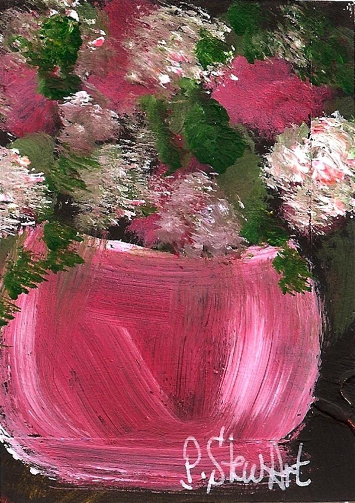 """ACEO Pink Carnations in a pink bowl, Original art, not a print, Acrylic on Black background"" original fine art by Penny Lee StewArt"