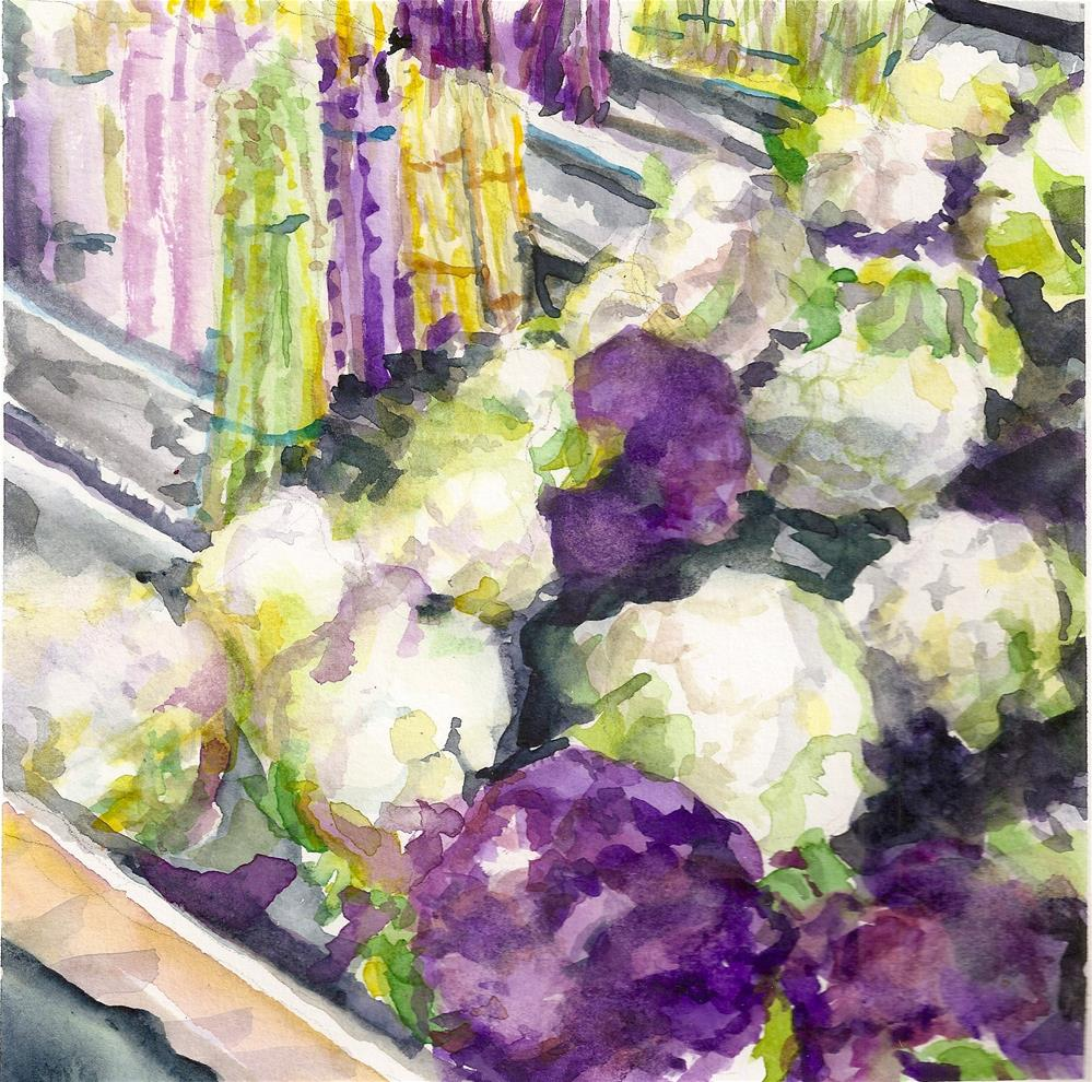 """Fancy Asparagus and Cauliflower"" original fine art by Jean Krueger"