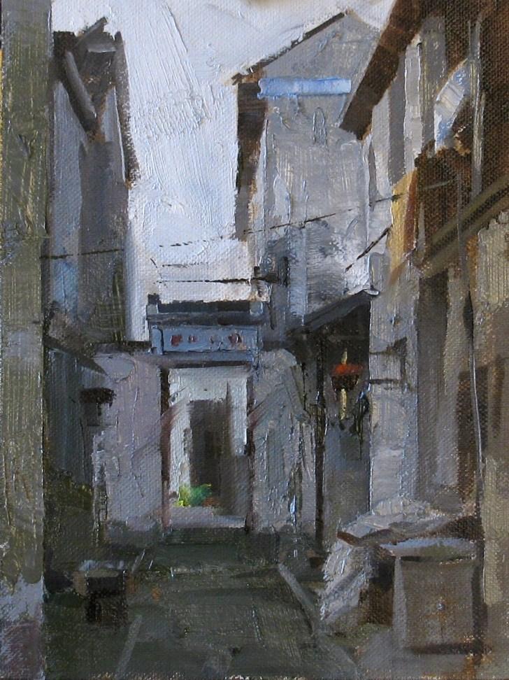 """""""Zhouzhuang Street"""" original fine art by Qiang Huang"""