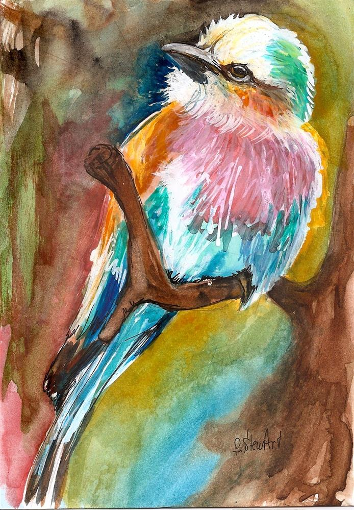 """""""5x7 Lilac Breasted Roller Colorful Bird painting Watercolor by Penny StewArt"""" original fine art by Penny Lee StewArt"""