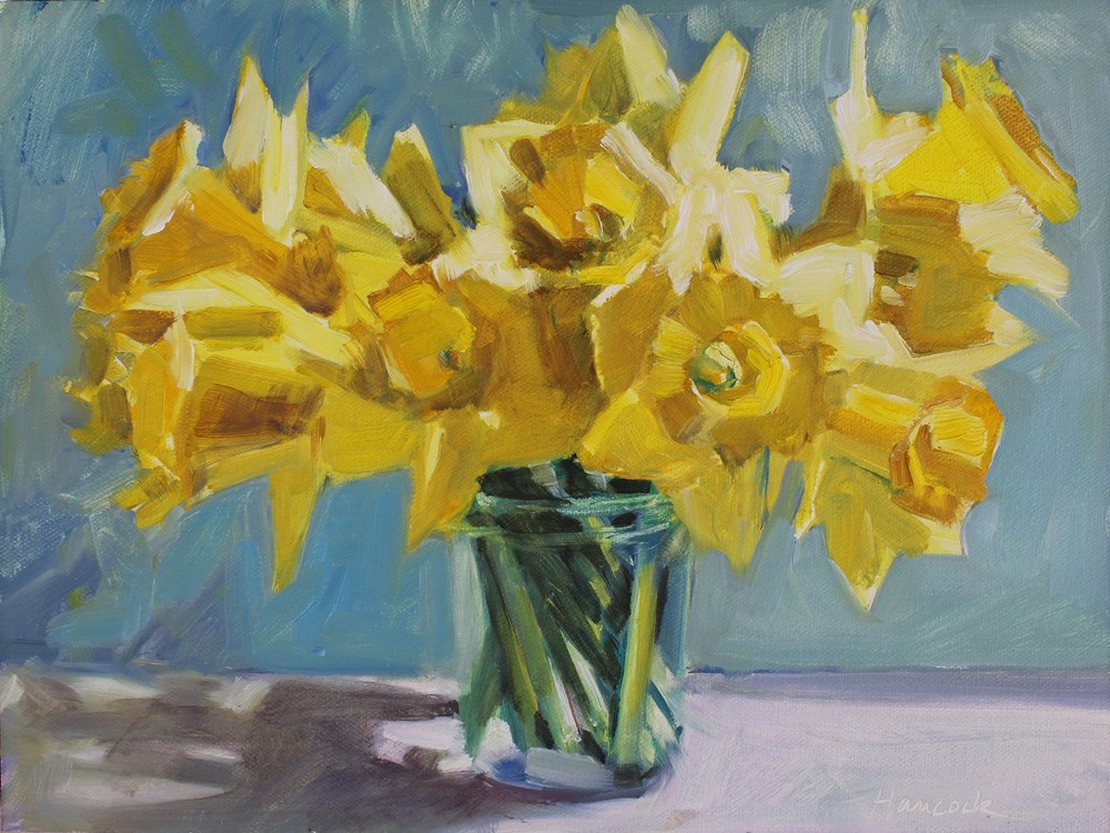 """Daffodil Bouquet in Glass Jar"" original fine art by Gretchen Hancock"