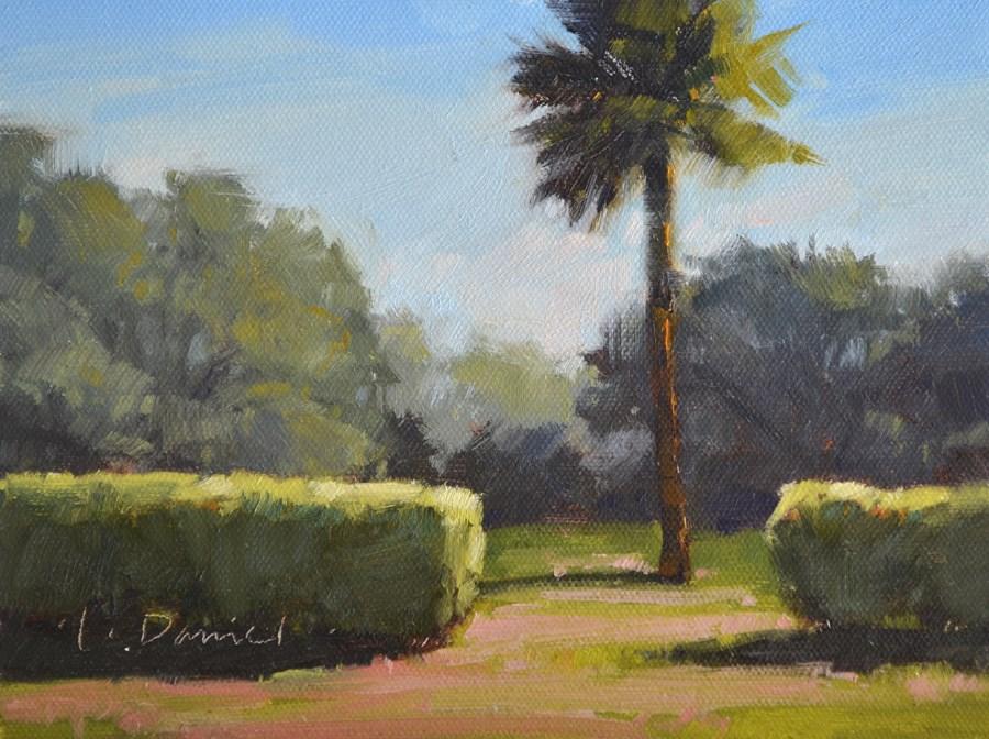 """""""Garden Palm - Plein Air Demo"""" original fine art by Laurel Daniel"""