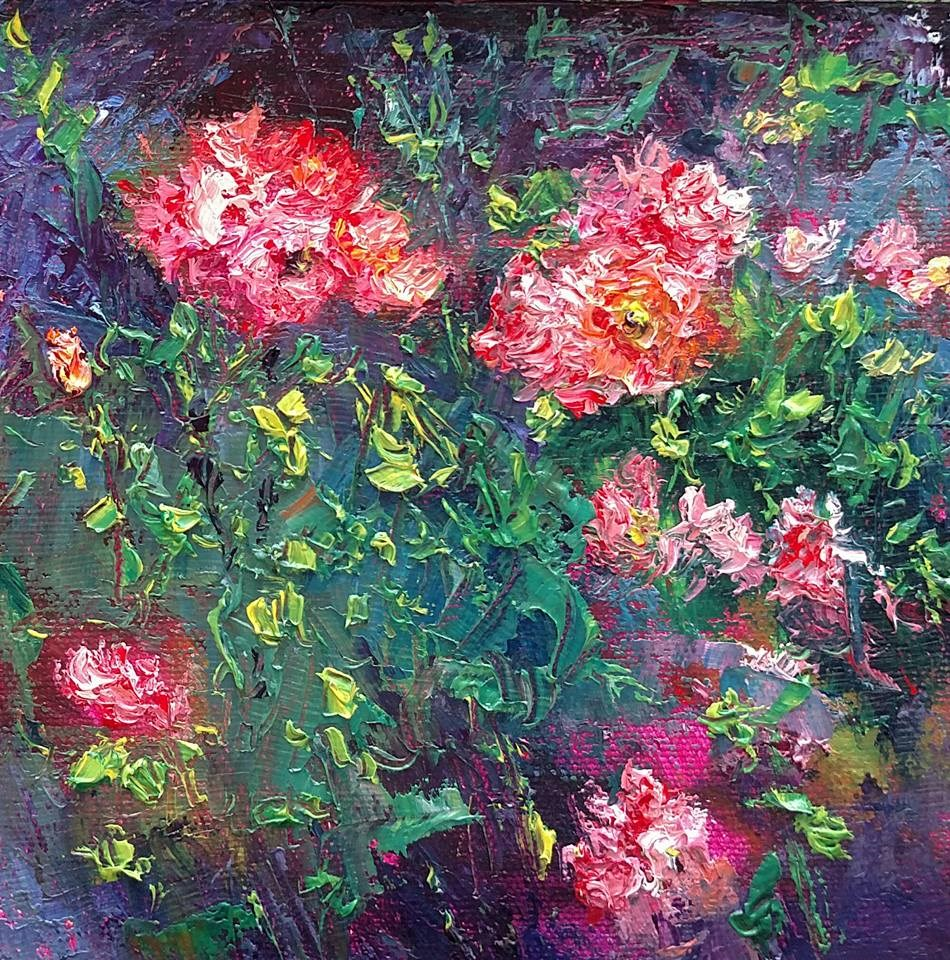 """Cloudy Day Roses"" original fine art by S. Lynne Price"