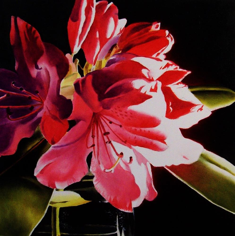 """Red Rhododendron"" original fine art by Jacqueline Gnott, whs"