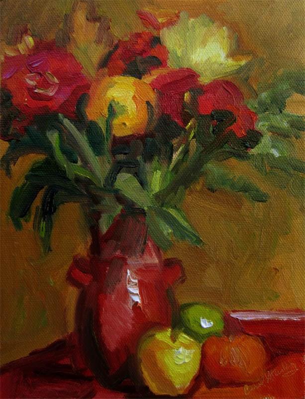"""October 28 Bouquet"" original fine art by Carol Steinberg"