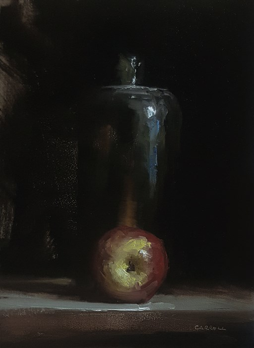 """Apple with Bottle"" original fine art by Neil Carroll"