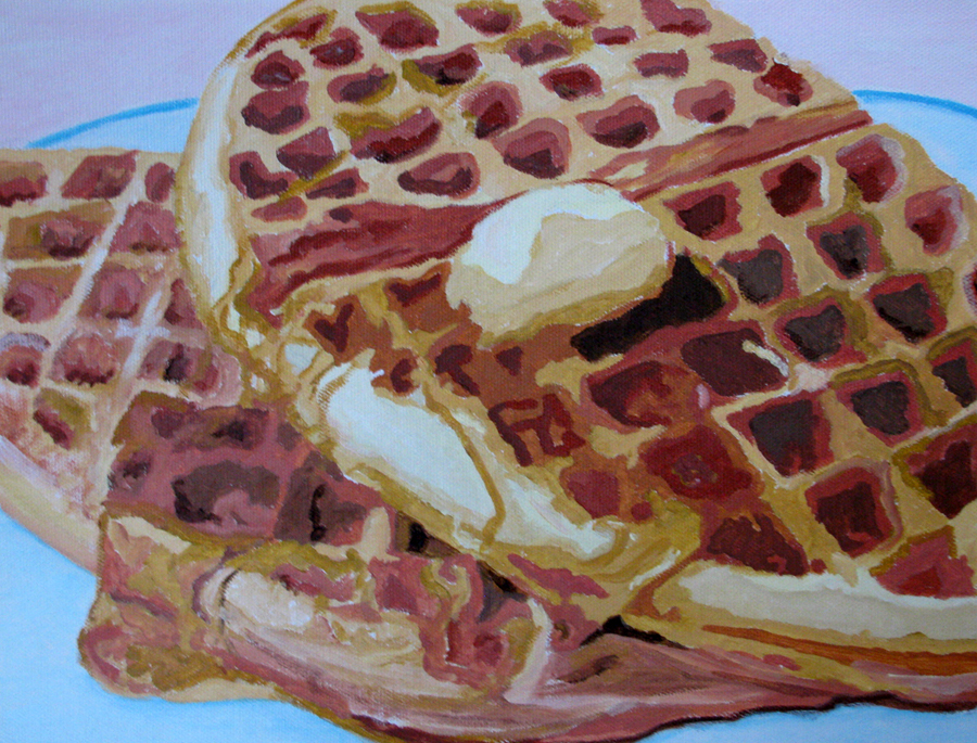 """Breakfast Waffles"" original fine art by Nan Johnson"