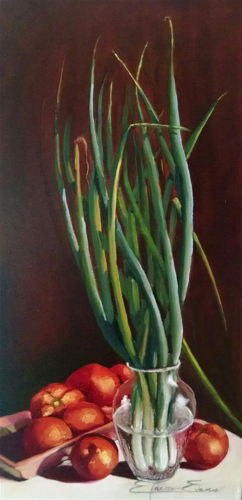 """Scallions #2"" original fine art by Elaine Evans"