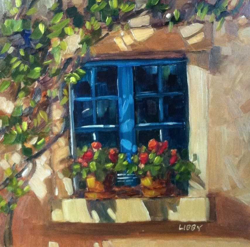 """Two Geraniums"" original fine art by Libby Anderson"