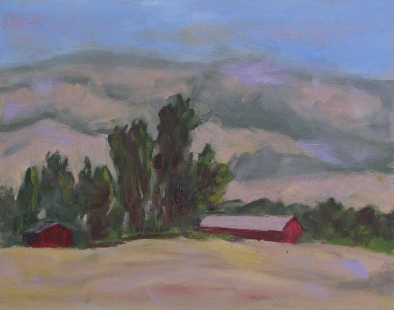 """Red  barns on the mountain"" original fine art by Helen Moreda"