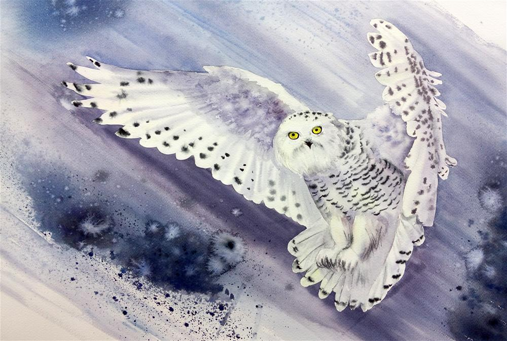 """Snowy Owl Flying In Snow Storm"" original fine art by Olga Beliaeva"