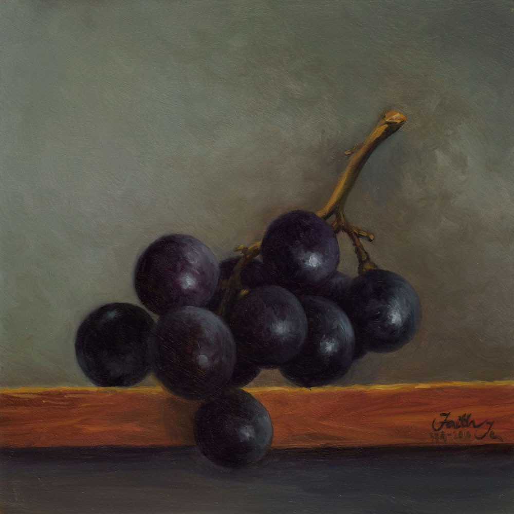 """Grapes on a Shelf"" original fine art by Faith Te"