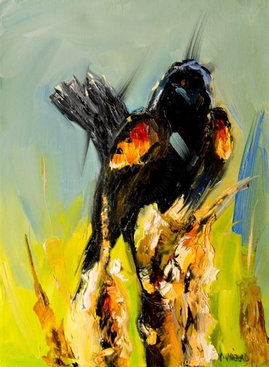"""ARTOUTWEST Diane Whitehead Bird series study Black bird oil painting original"" original fine art by Diane Whitehead"