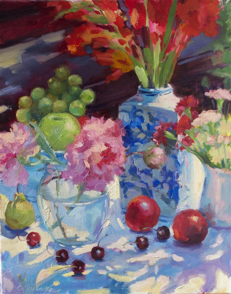 """Sun Lit Delights oil on linen , 16x20"" original fine art by Emiliya Lane"
