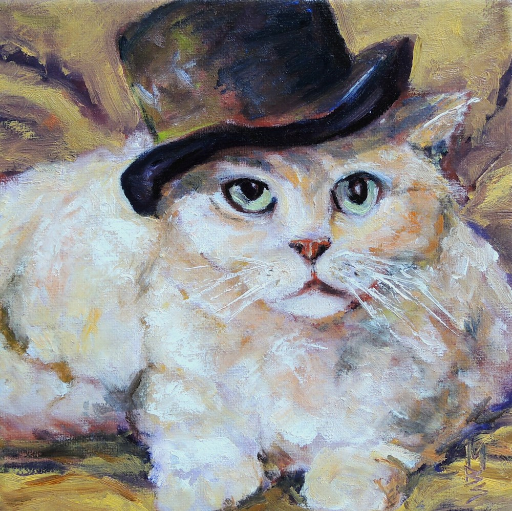 """Top Hat and Fur"" original fine art by Mary Schiros"