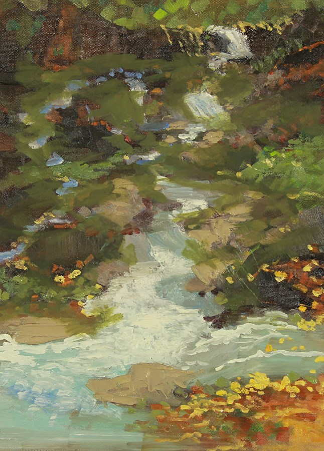 """Landscape Oil Painting,Waterfall  Deep Woods in Autumn 2 by Colorado Artist Susan Fowler"" original fine art by Susan Fowler"