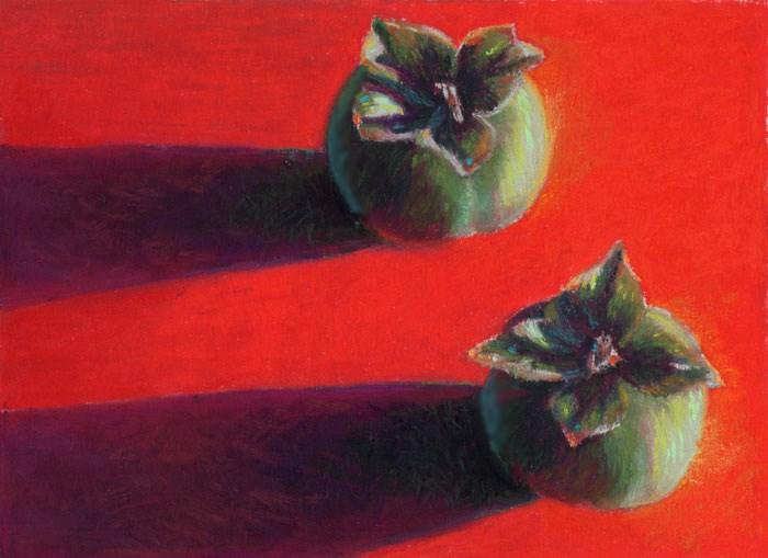 """Persimmons"" original fine art by Nancy Poucher"