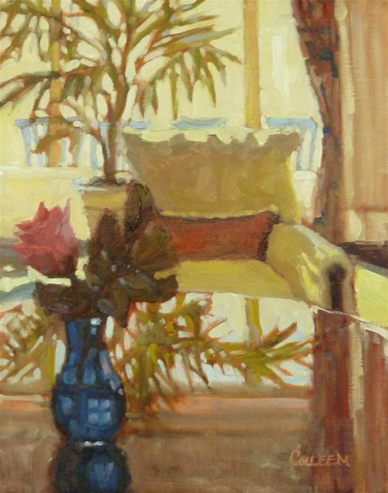 """A Seat in the Lobby"" original fine art by Colleen Parker"