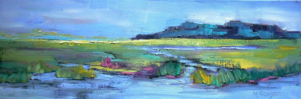 """Marsh Landscape, 6x18, Marsh in Spring"" original fine art by Carol Schiff"