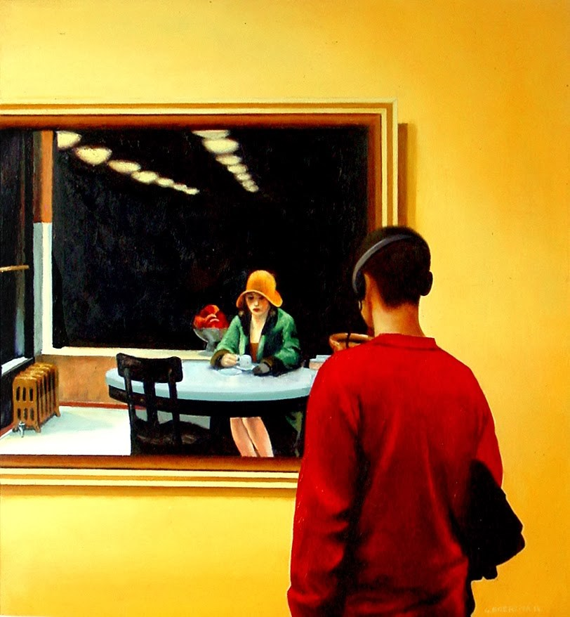 """Hopper Automat- Man Enjoying Painting Automat By Edward Hopper"" original fine art by Gerard Boersma"