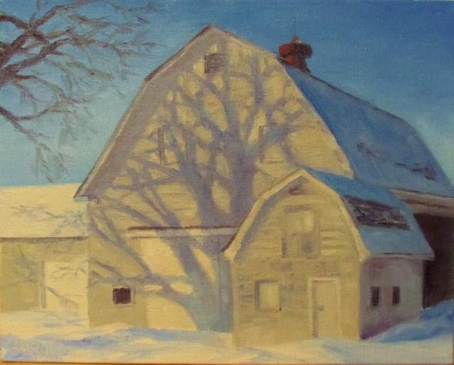 """""""Barn Shadows"""" original fine art by Christine Lewis"""