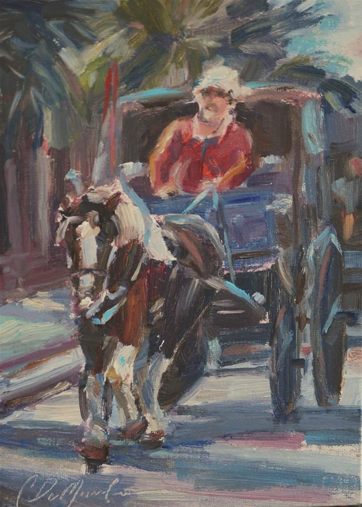 """Charleston, South Carolina, Horse and buggy tour"" original fine art by Carol DeMumbrum"