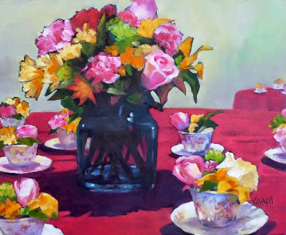 """Ladies' Tea, 10x8 Oil on Canvas"" original fine art by Carmen Beecher"