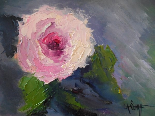 """Small Rose Painting, Daily Painting, Small Oil Painting, A Rose by Any other Name, 6x8 Oil"" original fine art by Carol Schiff"