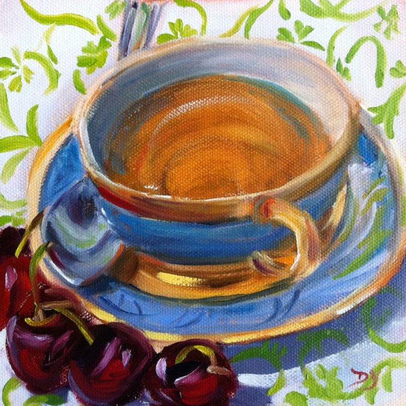 """Tea and Cherries, oil on canvas board, 6x6"" original fine art by Darlene Young"