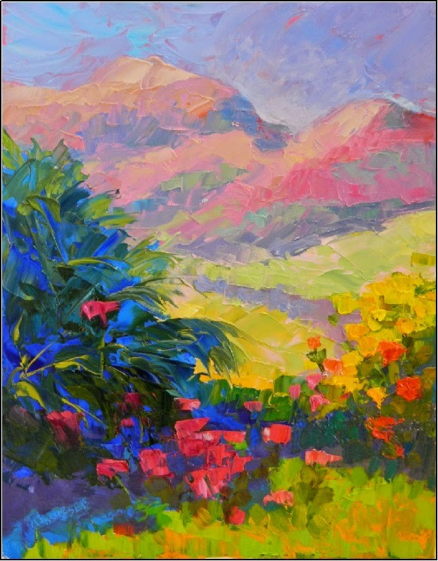 """Wildflower Meadow, 11x14, oil on board, palette knife, mountain, colorist art, wildflowers"" original fine art by Maryanne Jacobsen"