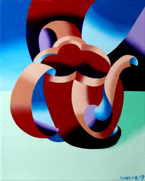 """Mark Webster - Futurist Abstract Teapot Oil Painting"" original fine art by Mark Webster"