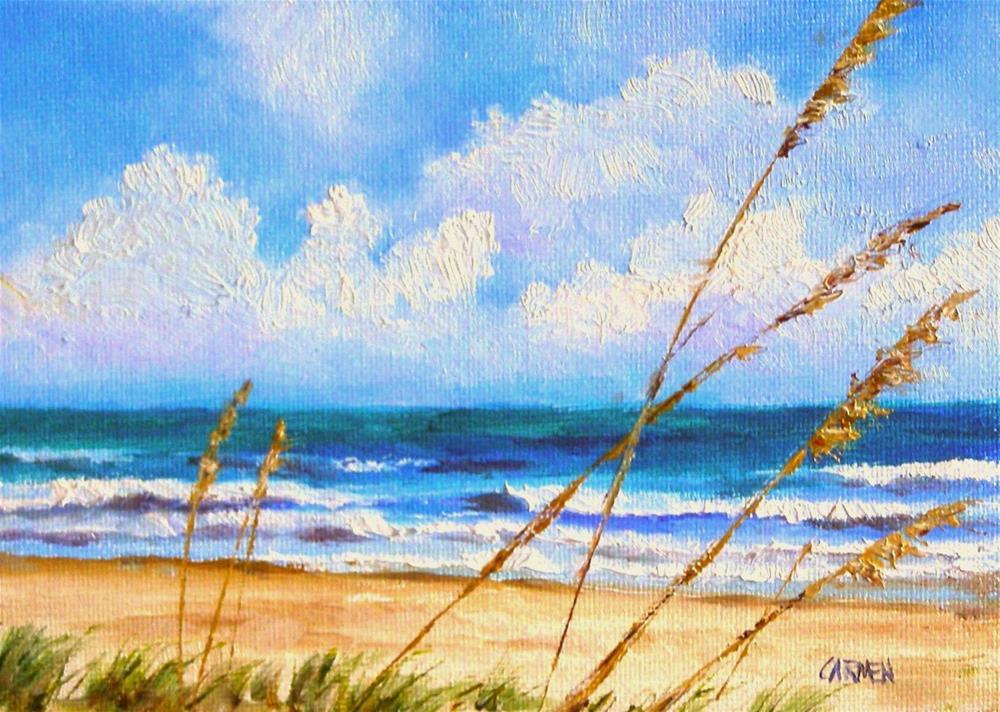 """Sun on the Beach, 7x5 Oil Painting on Canvas Panel, Seascape"" original fine art by Carmen Beecher"