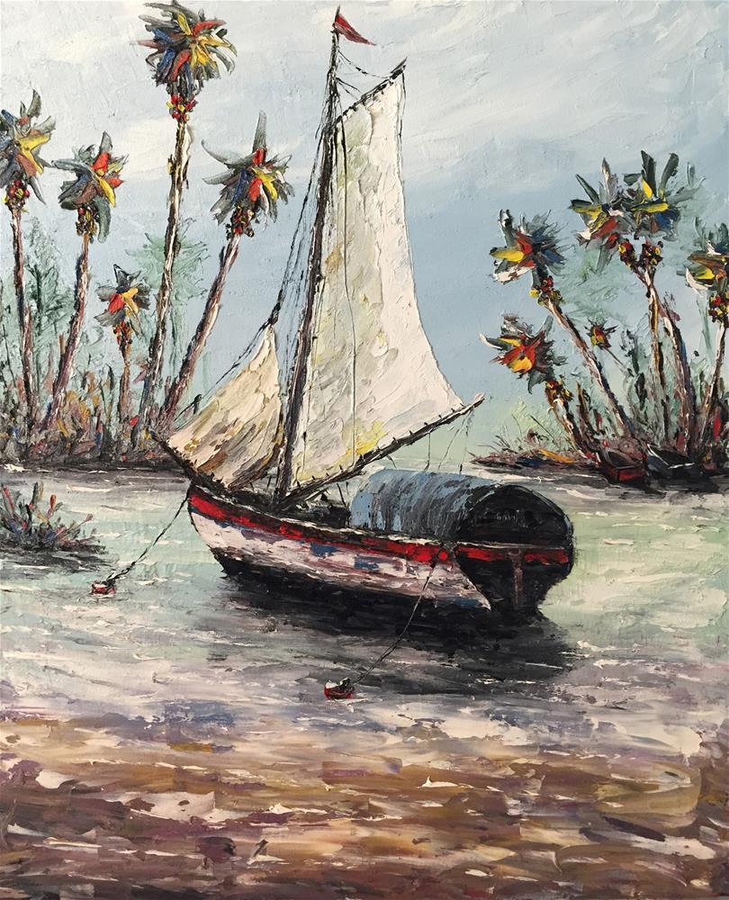 """""""Sails Up"""" original fine art by Ken Fraser"""