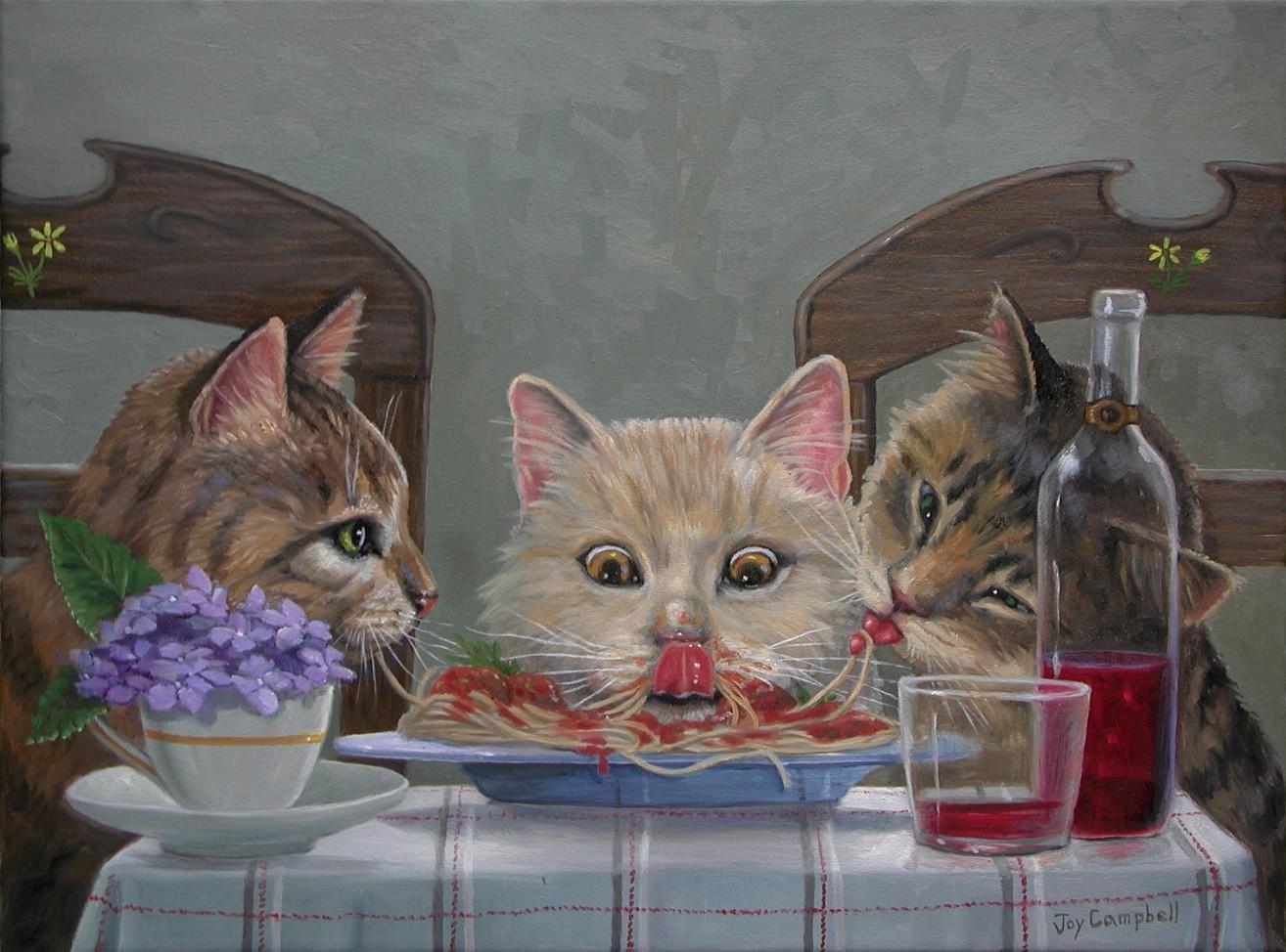 """""""Sharing Dinner"""" original fine art by Joy Campbell"""