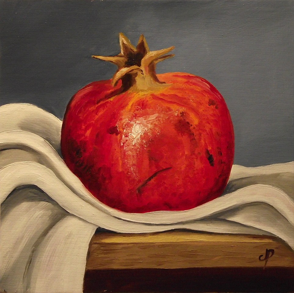 """Pomegranate on cloth"" original fine art by Jane Palmer"