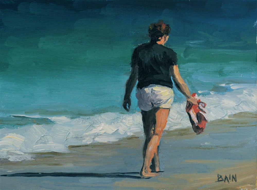 """""""Beach Stroll"""" original fine art by Peter Bain"""