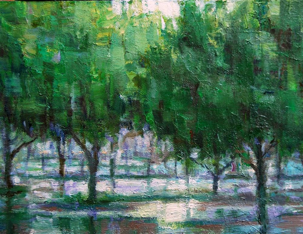 Irrigating the Pecan Orchard. original fine art by Julie Ford Oliver