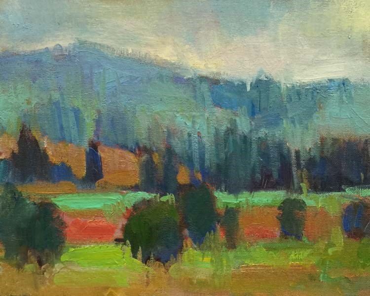 """Mt. Pisgah and the Pretty Pumpkin Patch"" original fine art by Patti McNutt"