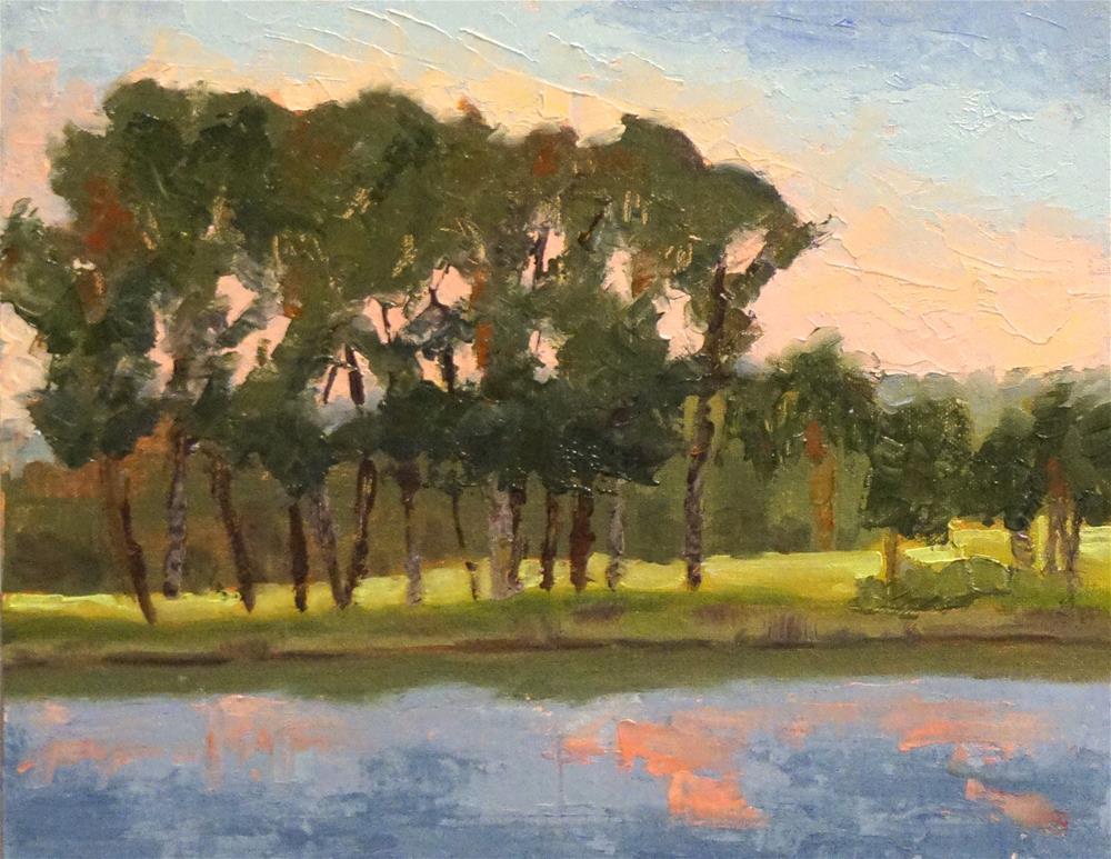 """Par 5 on the River Course"" original fine art by Judy Elias"