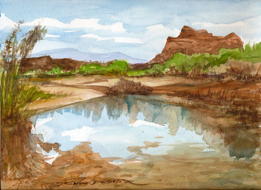 """Western Reflection"" original fine art by Rafael DeSoto Jr."