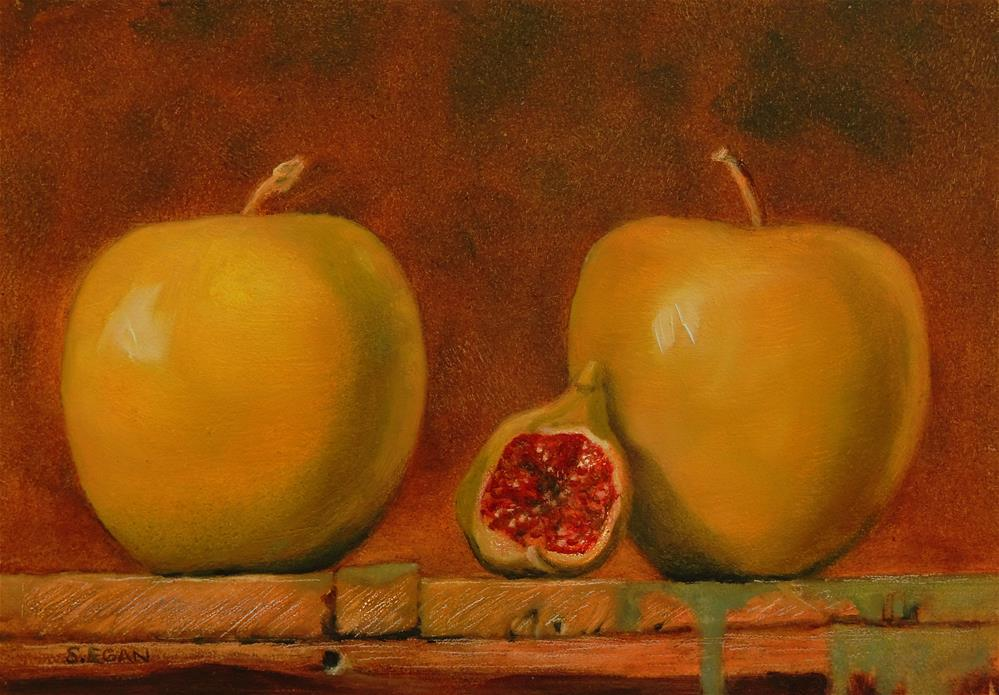 """Two Apples and A Fig"" original fine art by Sharon Egan"