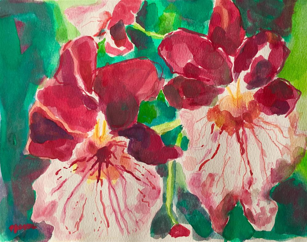 """Wild Red Orchids"" original fine art by Nava Judith"