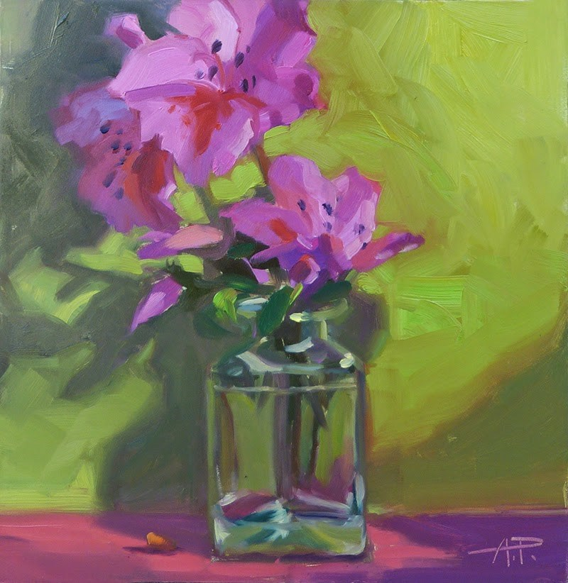 """Pink Petals - and my Open Studio Experience"" original fine art by Anette Power"