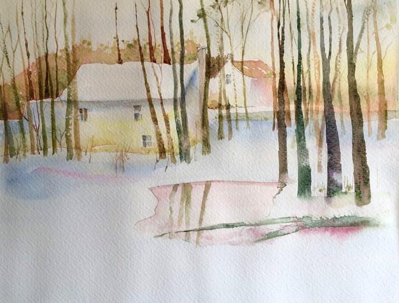 """SunSet in the Snow"" original fine art by Peter Wellington"